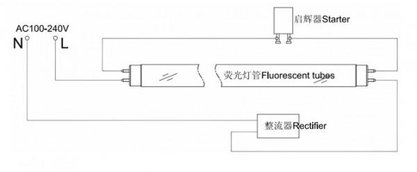 一拖二电子镇流器灯管接线图