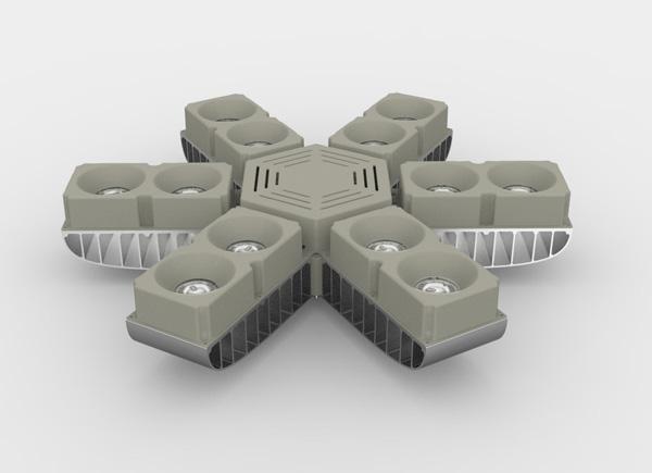 led工矿灯 防眩光 模组设计 185w,模块化散热结构,增大散热面积