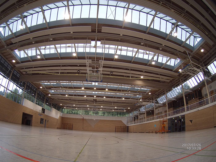 德国 – 我司UFO工矿灯用于德国室内篮球场照明