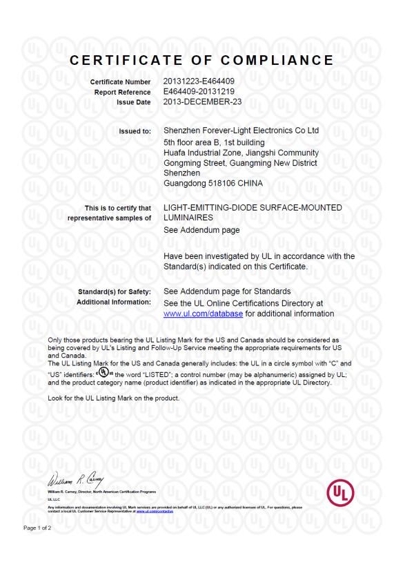 祝贺我司 Cree系列 LED工矿灯 获得UL权威认证